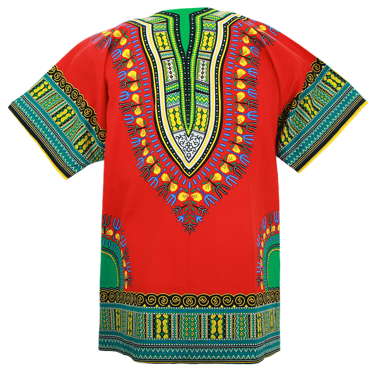 RED Colour in Sizes Unisex Traditional African Print Dashiki Shirt//Top//Blouse